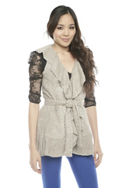 Peruvian Atelier Ruffle Boucle Vest - Front cropped