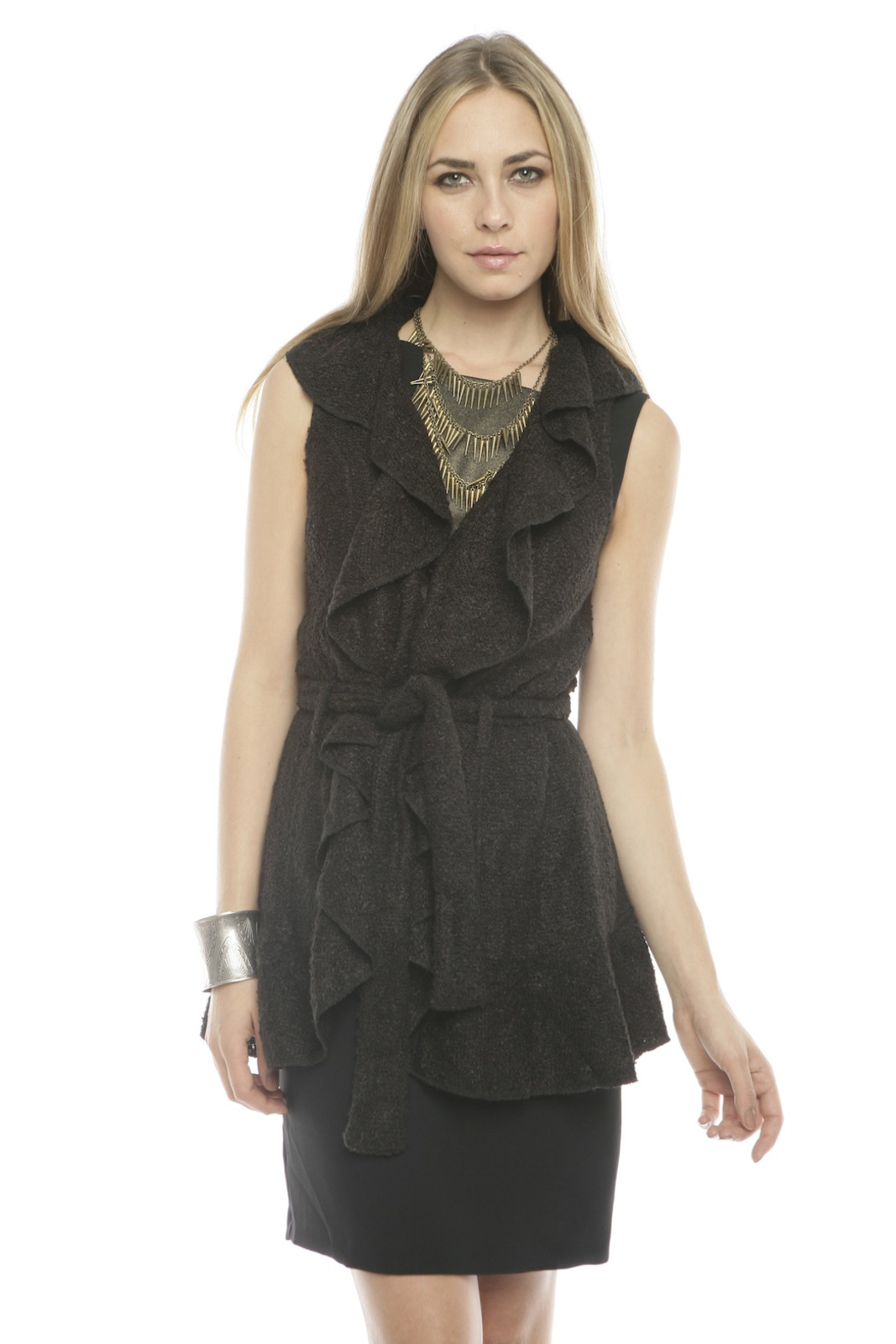Peruvian Atelier Ruffle Boucle Vest - Front Cropped Image