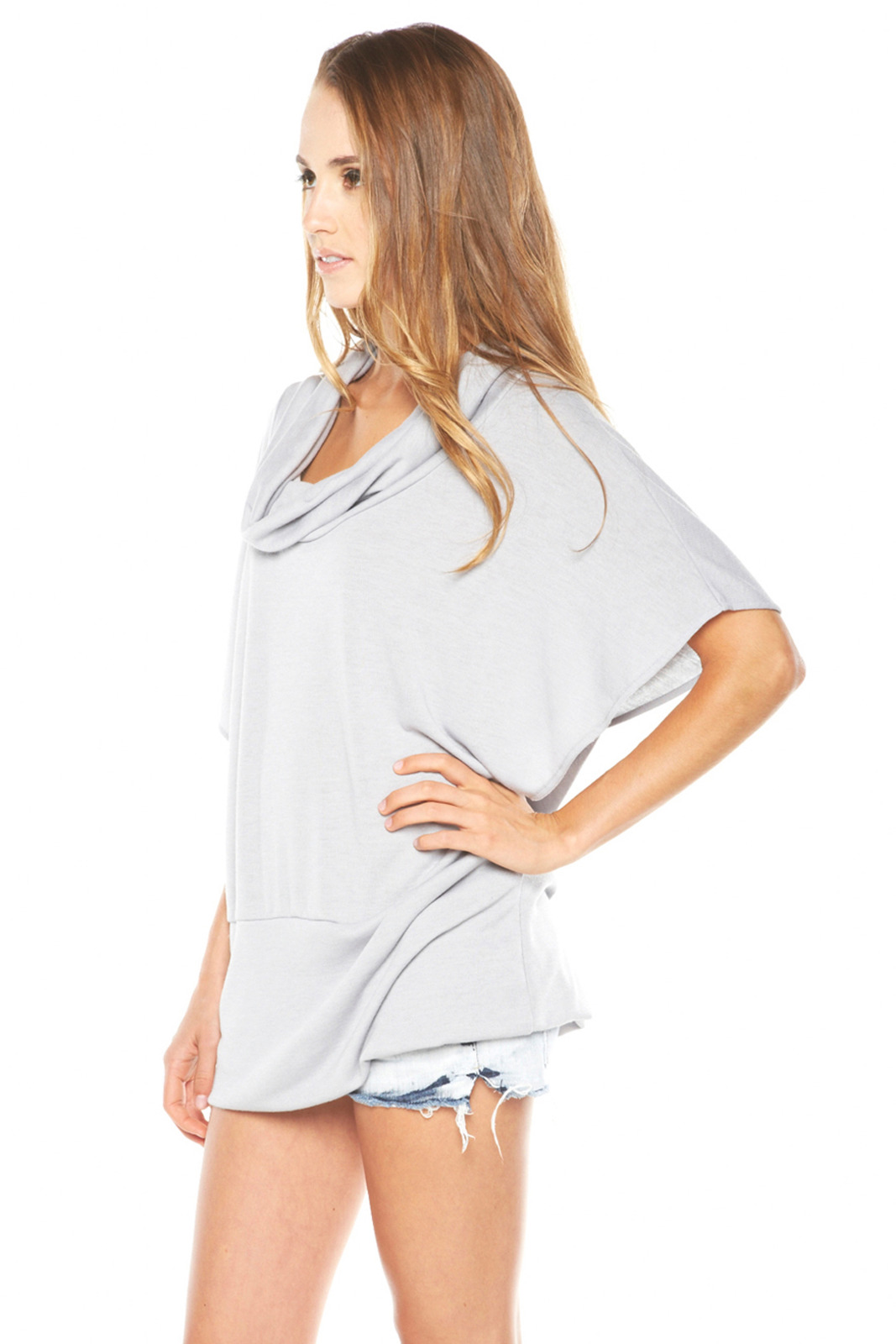 Absolute NY Grey Cowl Neck Shirt - Side Cropped Image