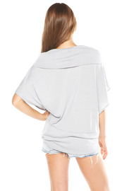 Absolute NY Grey Cowl Neck Shirt - Back cropped