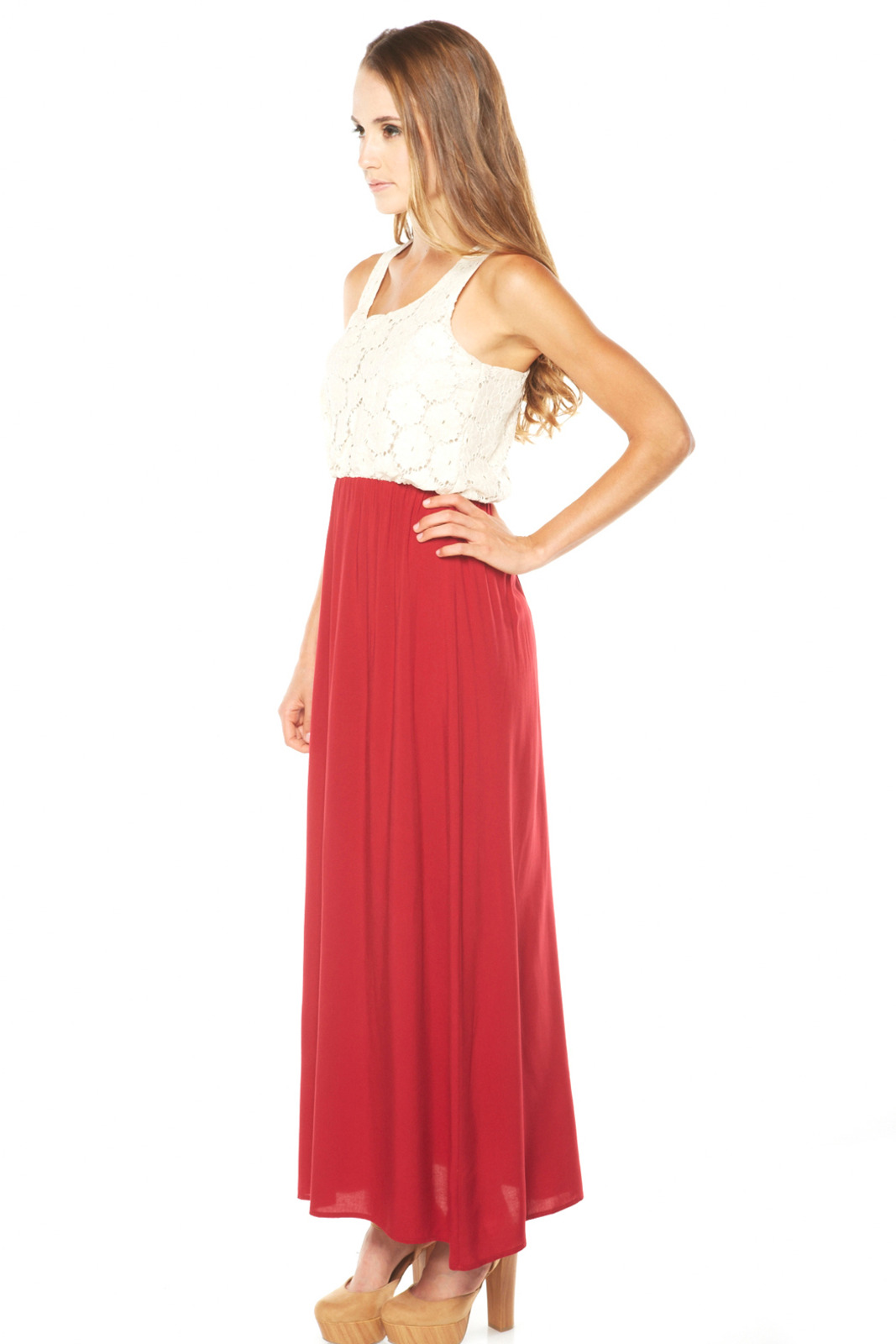 Cantata Lace Top Maxi Dress - Front Full Image