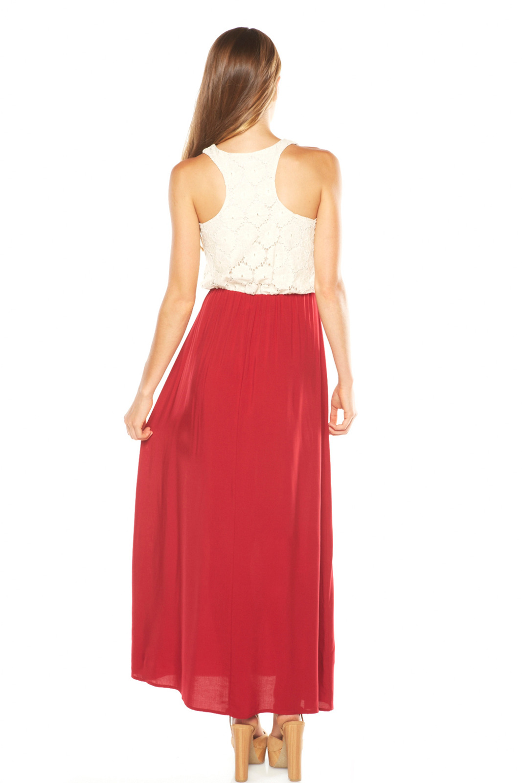 Cantata Lace Top Maxi Dress - Side Cropped Image
