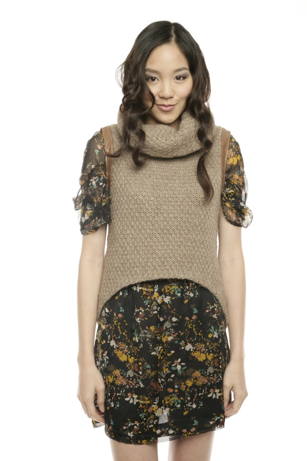 Shui Chen Cowl Neck with Leather Detail - Main Image