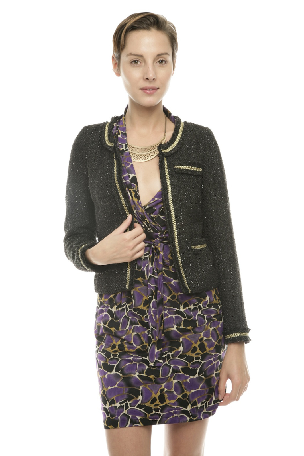 Moon Collection Shimmery Tweed Blazer - Front Cropped Image