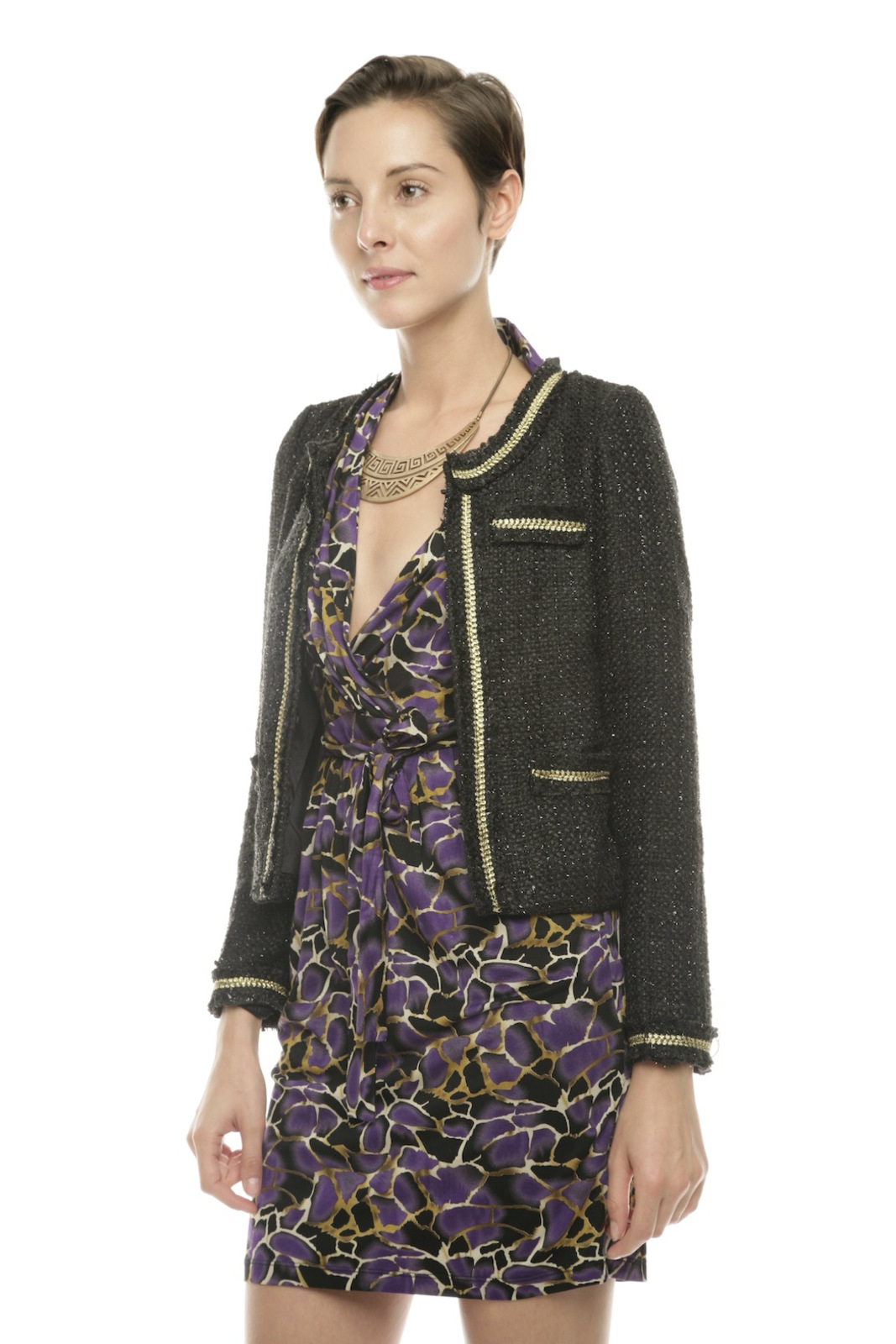 Moon Collection Shimmery Tweed Blazer - Side Cropped Image
