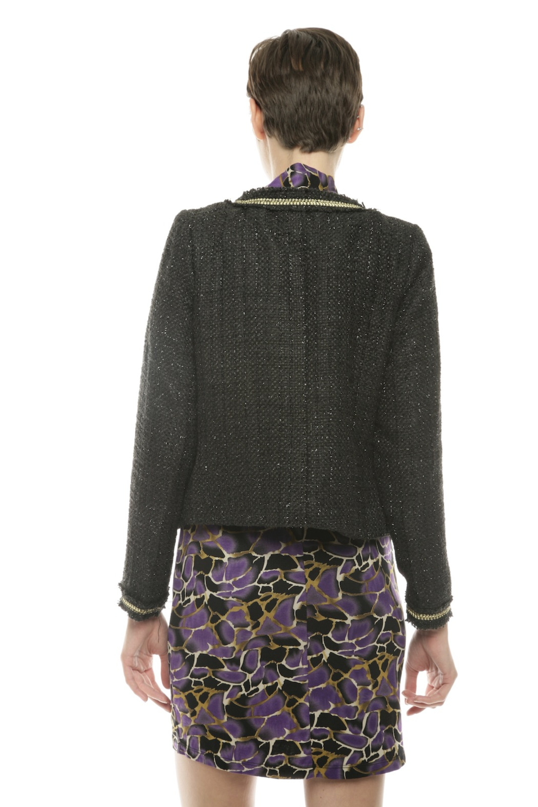 Moon Collection Shimmery Tweed Blazer - Back Cropped Image