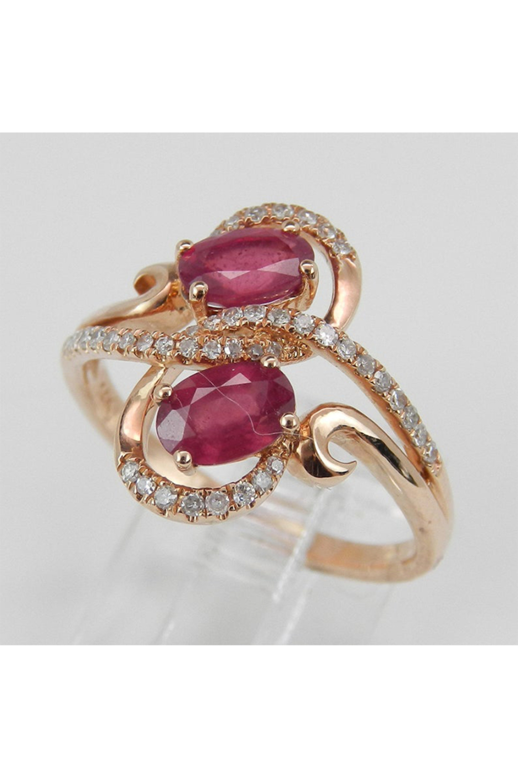 Margolin & Co 14K Rose Gold 1.40 ct Diamond and Ruby Cocktail Ring, Two Stone Right Hand Ring, Size 7, July Gemstone - Side Cropped Image
