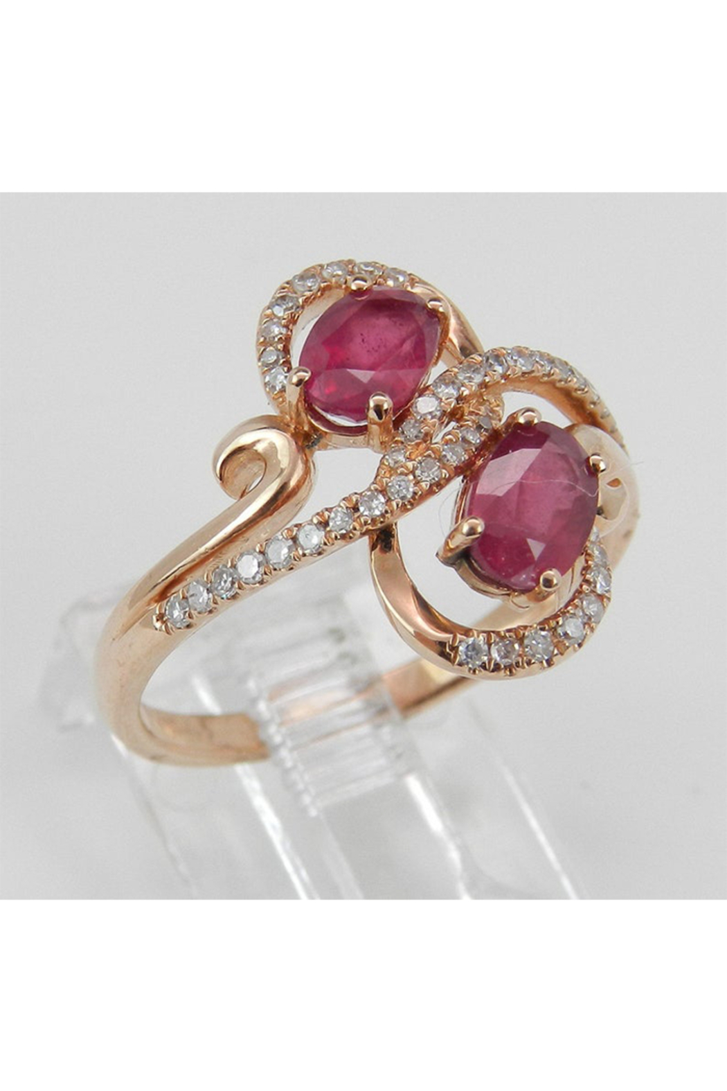 Margolin & Co 14K Rose Gold 1.40 ct Diamond and Ruby Cocktail Ring, Two Stone Right Hand Ring, Size 7, July Gemstone - Front Full Image