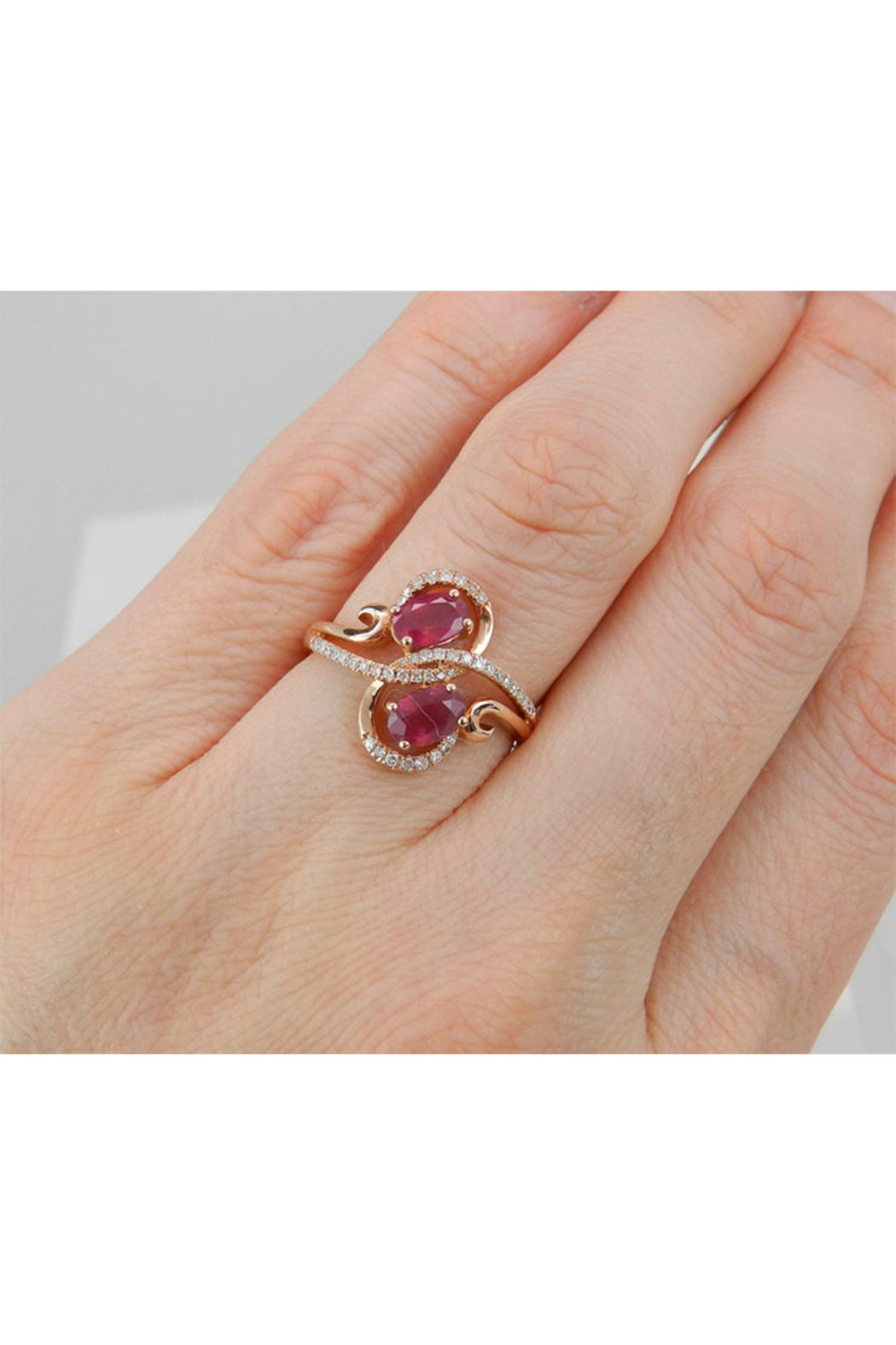 Margolin & Co 14K Rose Gold 1.40 ct Diamond and Ruby Cocktail Ring, Two Stone Right Hand Ring, Size 7, July Gemstone - Back Cropped Image