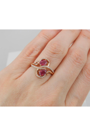 Margolin & Co 14K Rose Gold 1.40 ct Diamond and Ruby Cocktail Ring, Two Stone Right Hand Ring, Size 7, July Gemstone - Back cropped