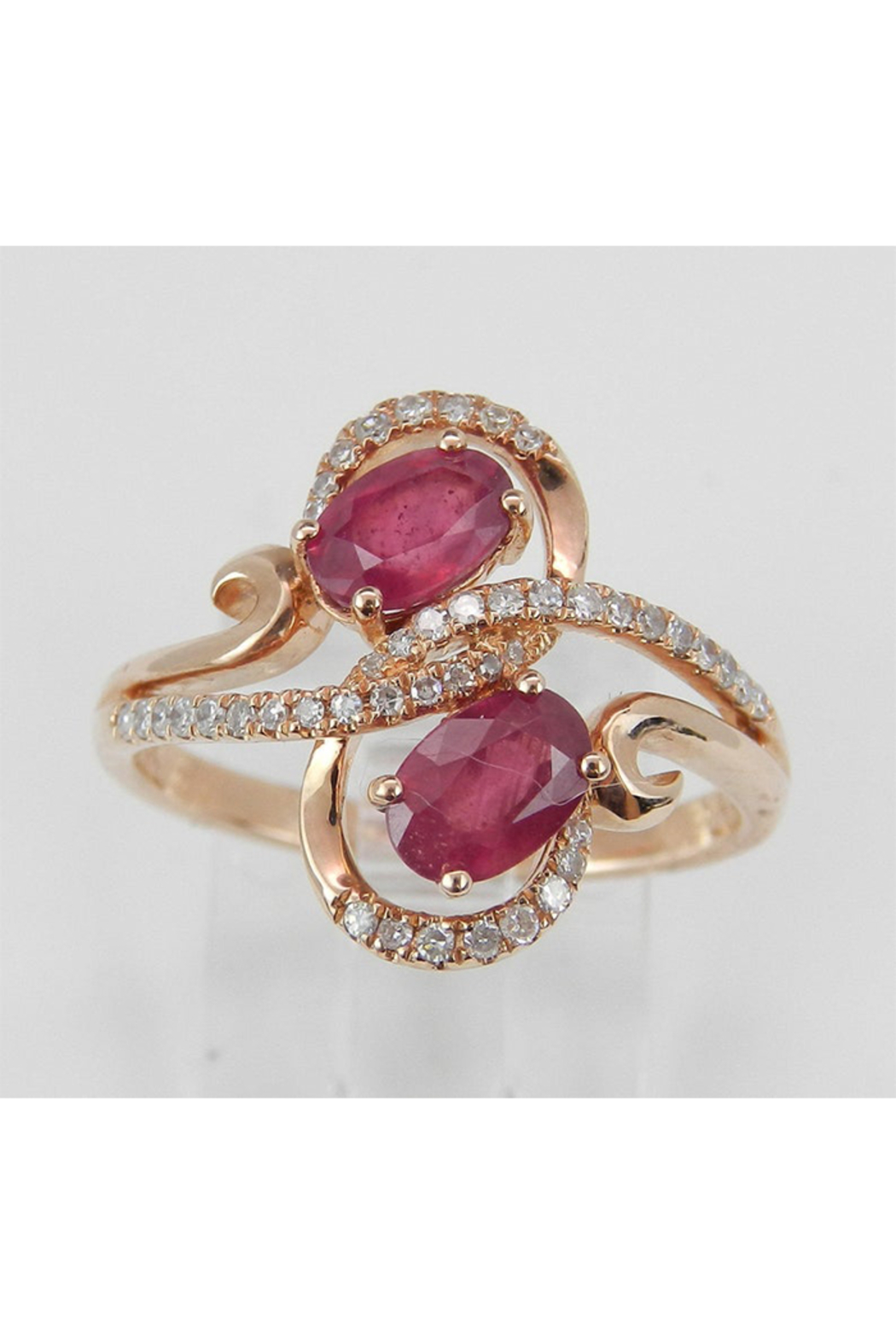 Margolin & Co 14K Rose Gold 1.40 ct Diamond and Ruby Cocktail Ring, Two Stone Right Hand Ring, Size 7, July Gemstone - Main Image