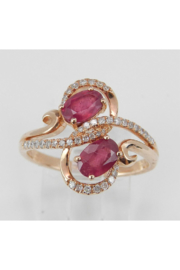 Margolin & Co 14K Rose Gold 1.40 ct Diamond and Ruby Cocktail Ring, Two Stone Right Hand Ring, Size 7, July Gemstone - Front cropped