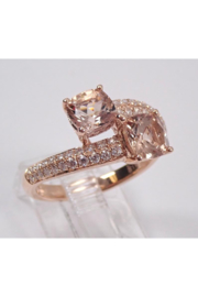 Margolin & Co 14K Rose Gold Diamond and Cushion Cut Morganite Bypass Ring Size 7 Pink Aqua Aquamarine Beryl - Back cropped