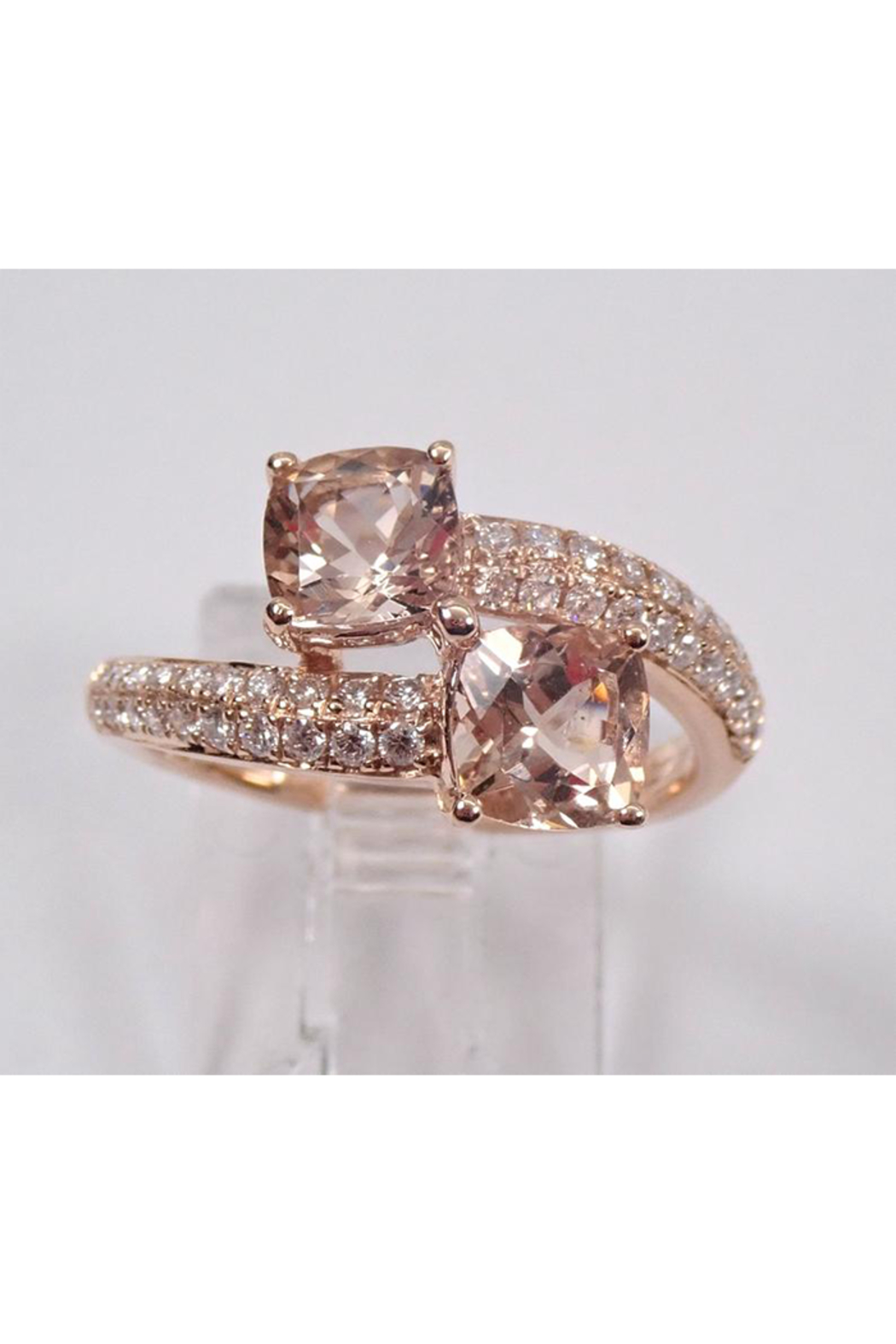 Margolin & Co 14K Rose Gold Diamond and Cushion Cut Morganite Bypass Ring Size 7 Pink Aqua Aquamarine Beryl - Side Cropped Image