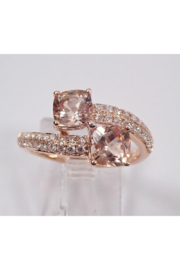 Margolin & Co 14K Rose Gold Diamond and Cushion Cut Morganite Bypass Ring Size 7 Pink Aqua Aquamarine Beryl - Side cropped