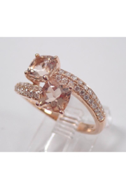 Margolin & Co 14K Rose Gold Diamond and Cushion Cut Morganite Bypass Ring Size 7 Pink Aqua Aquamarine Beryl - Other