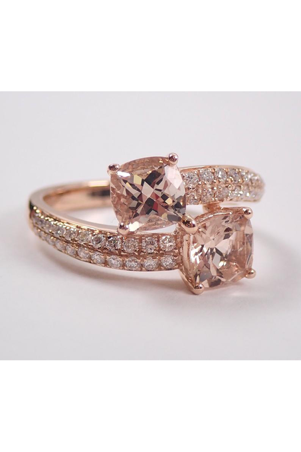 Margolin & Co 14K Rose Gold Diamond and Cushion Cut Morganite Bypass Ring Size 7 Pink Aqua Aquamarine Beryl - Front Full Image