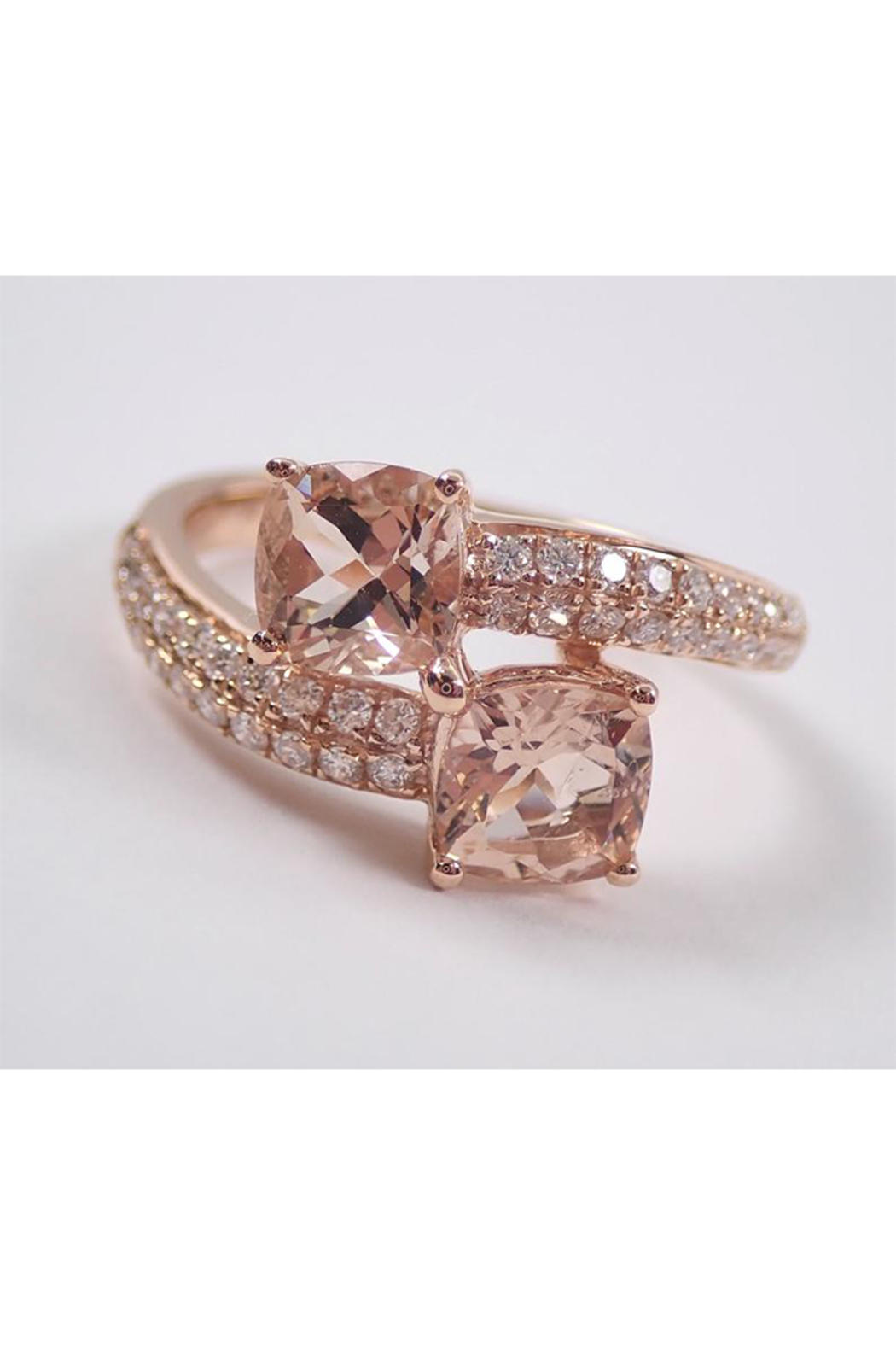 Margolin & Co 14K Rose Gold Diamond and Cushion Cut Morganite Bypass Ring Size 7 Pink Aqua Aquamarine Beryl - Front Cropped Image