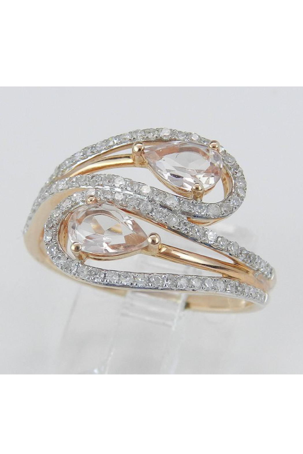 Margolin & Co 14K Rose Gold Diamond and Morganite Cocktail Bypass Ring Size 7.25 Beryl Gem FREE Sizing - Back Cropped Image