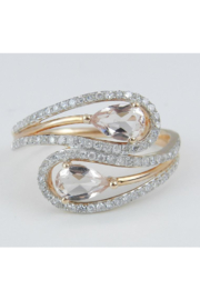 Margolin & Co 14K Rose Gold Diamond and Morganite Cocktail Bypass Ring Size 7.25 Beryl Gem FREE Sizing - Product Mini Image