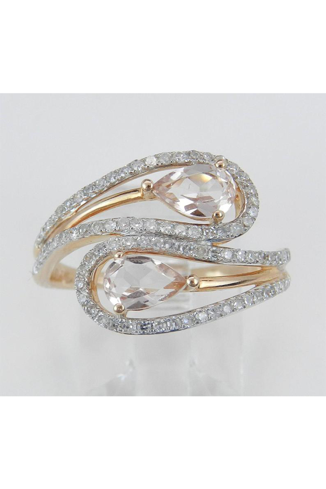 Margolin & Co 14K Rose Gold Diamond and Morganite Cocktail Bypass Ring Size 7.25 Beryl Gem FREE Sizing - Front Full Image
