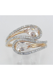 Margolin & Co 14K Rose Gold Diamond and Morganite Cocktail Bypass Ring Size 7.25 Beryl Gem FREE Sizing - Front full body