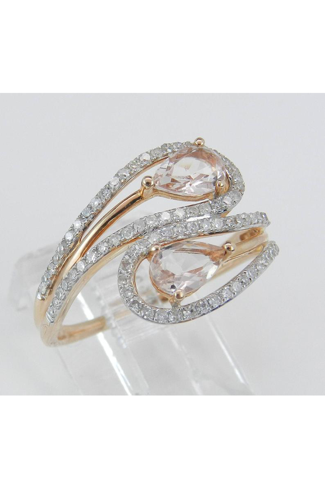 Margolin & Co 14K Rose Gold Diamond and Morganite Cocktail Bypass Ring Size 7.25 Beryl Gem FREE Sizing - Side Cropped Image