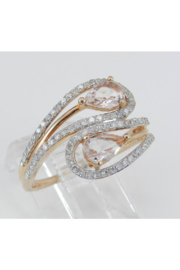 Margolin & Co 14K Rose Gold Diamond and Morganite Cocktail Bypass Ring Size 7.25 Beryl Gem FREE Sizing - Side cropped