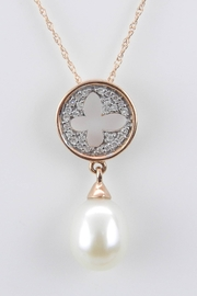 Margolin & Co 14K Rose Gold Diamond and Pearl Cluster Pendant Wedding Necklace with 18