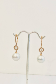 Jen Collection  14K Rose Gold Leverbacks With Pearl, Sliced, and Pave Diamonds - Product Mini Image