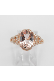 Margolin & Co 14K Rose Gold Morganite and Diamond Halo Engagement Ring - Product Mini Image