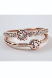 Margolin & Co 14K Rose Gold Morganite and Diamond Stackable Anniversary Ring Multi Row Wedding Band Modern Jewelry - Product Mini Image