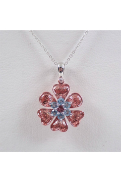 """Shoptiques Product: 14K White and Rose Gold Blue Topaz and Pink Tourmaline Flower Necklace Pendant 18"""" Chain"""