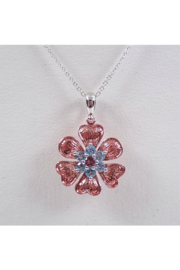 Margolin & Co 14K White and Rose Gold Blue Topaz and Pink Tourmaline Flower Necklace Pendant 18