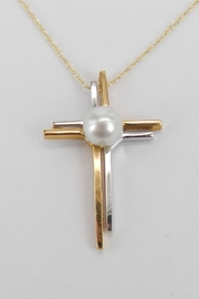 Margolin & Co 14K White and Yellow Gold Pearl CROSS Pendant Necklace Religious Charm 18
