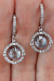 Margolin & Co 14K White Gold Blue Topaz and Diamond Halo Dangle Drop Earrings Briolette - Other