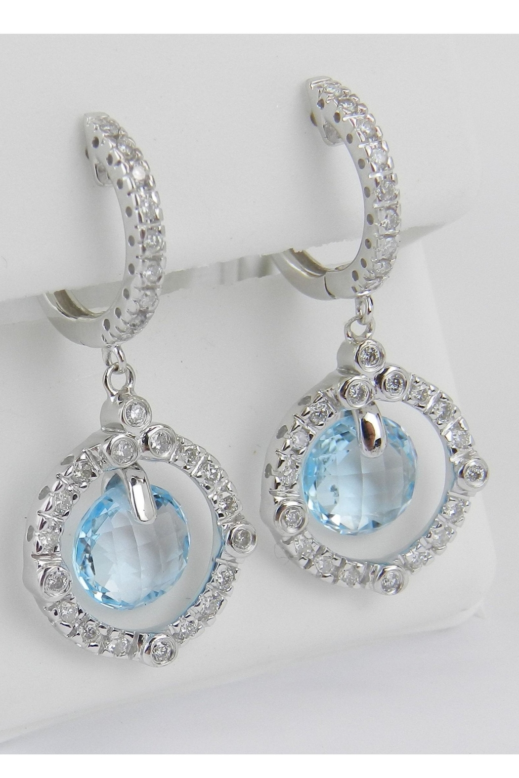 Margolin & Co 14K White Gold Blue Topaz and Diamond Halo Dangle Drop Earrings Briolette - Front Full Image