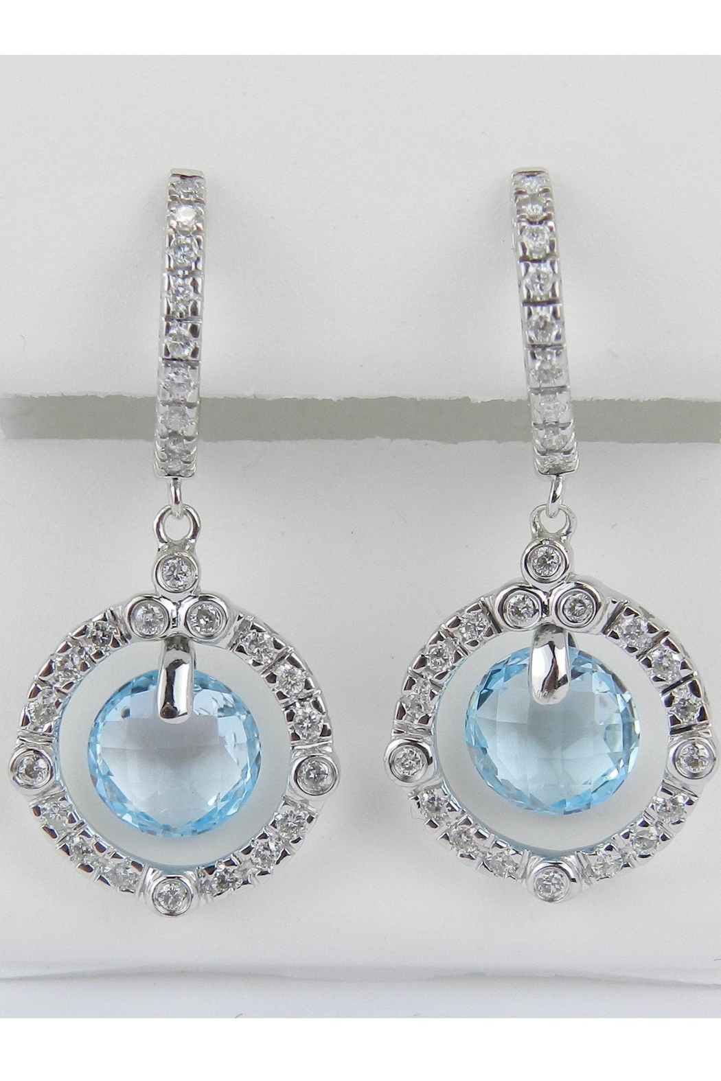 Margolin & Co 14K White Gold Blue Topaz and Diamond Halo Dangle Drop Earrings Briolette - Main Image