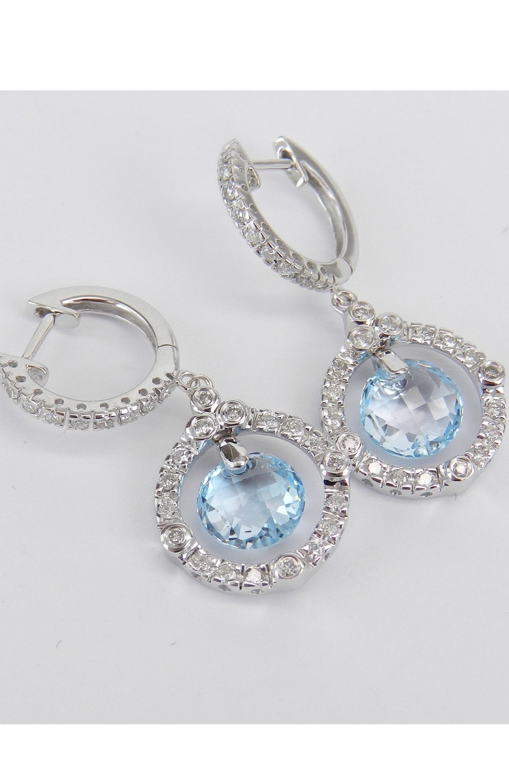 Margolin & Co 14K White Gold Blue Topaz and Diamond Halo Dangle Drop Earrings Briolette - Back Cropped Image