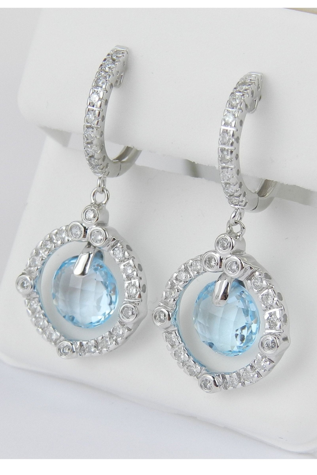 Margolin & Co 14K White Gold Blue Topaz and Diamond Halo Dangle Drop Earrings Briolette - Side Cropped Image
