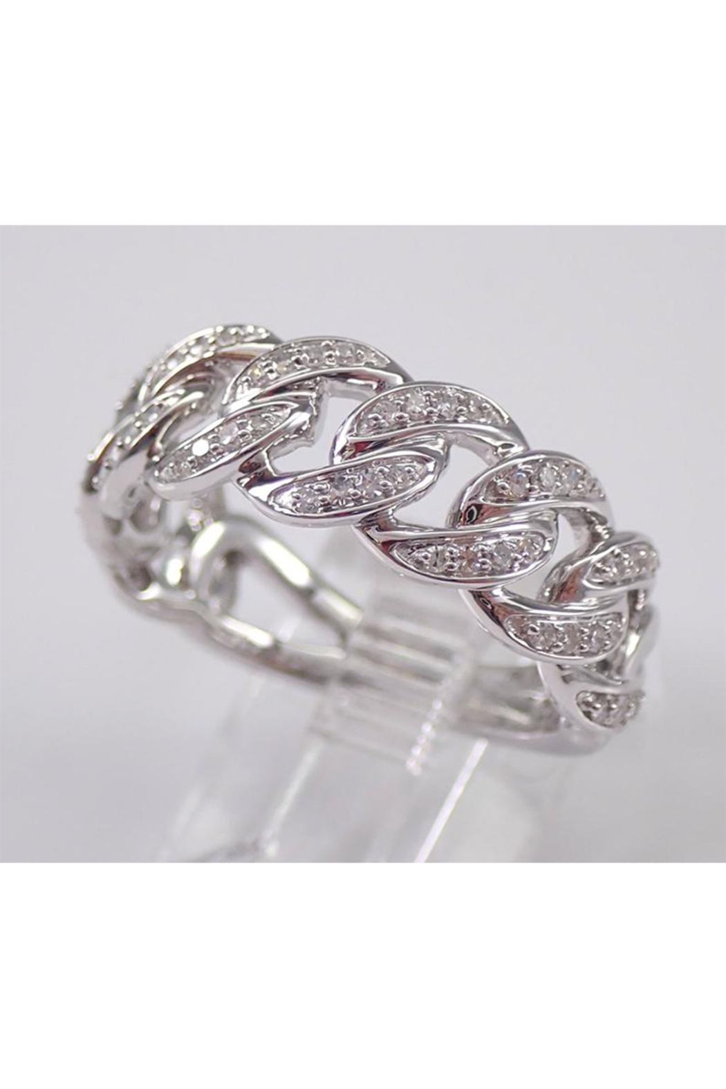 Margolin & Co 14K White Gold CHAIN LINK Diamond Wedding Ring Anniversary Band Stackable Size 7 Unique Style - Side Cropped Image