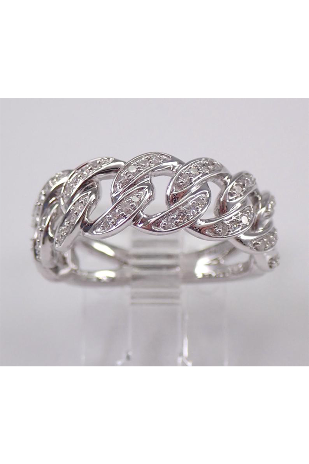 Margolin & Co 14K White Gold CHAIN LINK Diamond Wedding Ring Anniversary Band Stackable Size 7 Unique Style - Main Image
