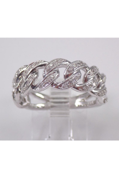 Shoptiques Product: 14K White Gold CHAIN LINK Diamond Wedding Ring Anniversary Band Stackable Size 7 Unique Style