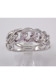 Margolin & Co 14K White Gold CHAIN LINK Diamond Wedding Ring Anniversary Band Stackable Size 7 Unique Style - Front cropped