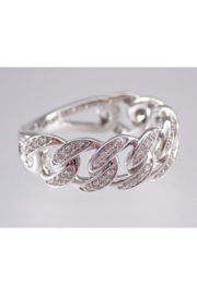 Margolin & Co 14K White Gold CHAIN LINK Diamond Wedding Ring Anniversary Band Stackable Size 7 Unique Style - Back cropped