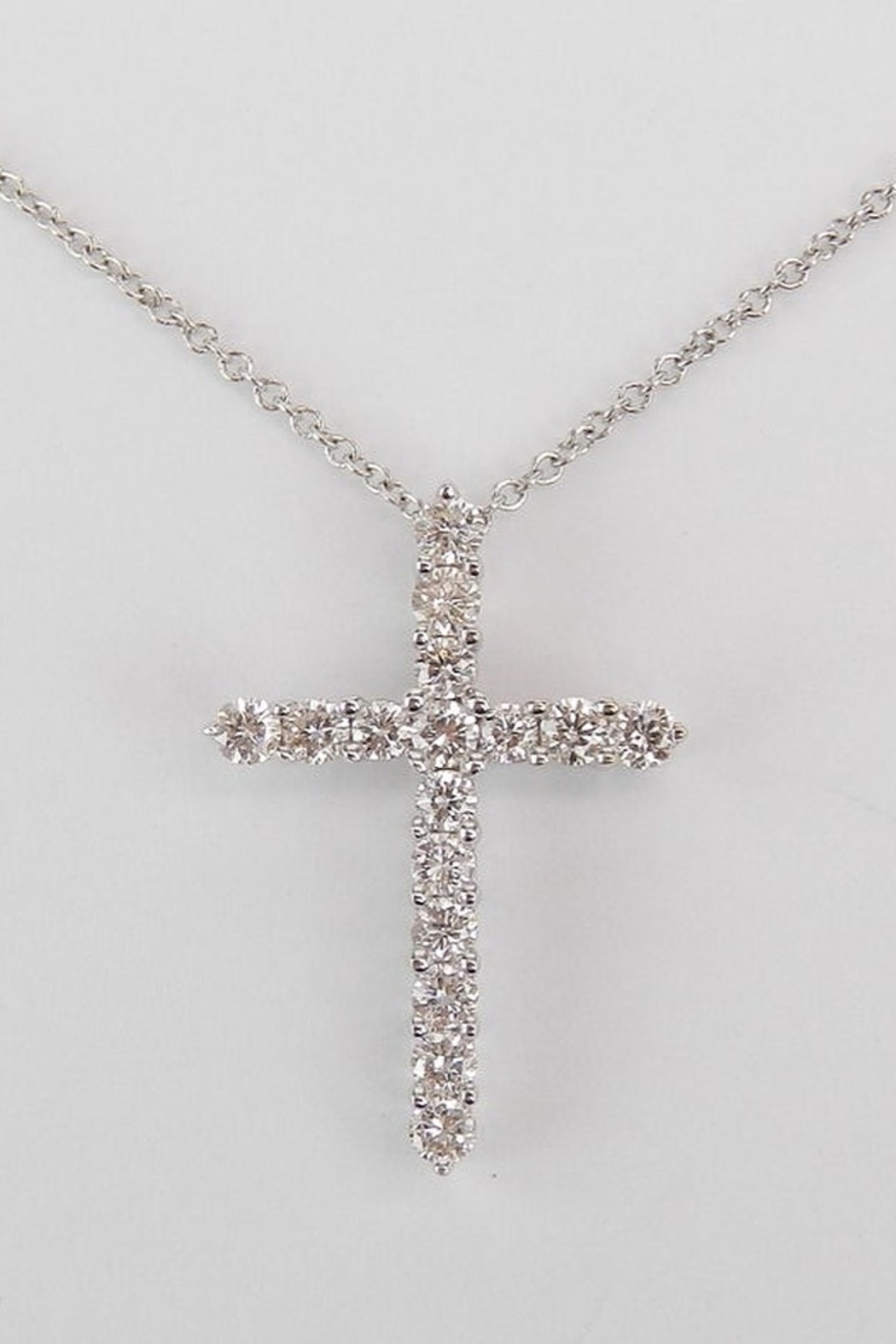 Details about  /Christmas 14K White Gold 0.06 CT Natural Diamond Religious Charm Cross Pendant