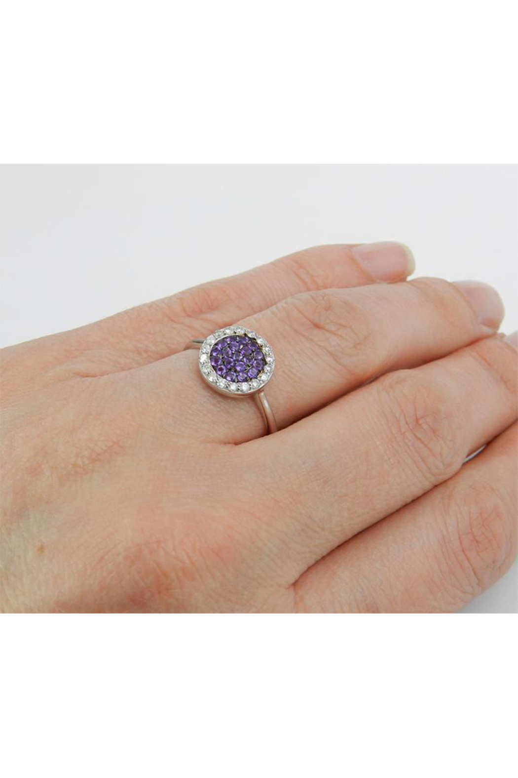 Margolin & Co 14K White Gold Diamond and Amethyst Cluster Promise Cocktail Ring Size 7.25 - Back Cropped Image