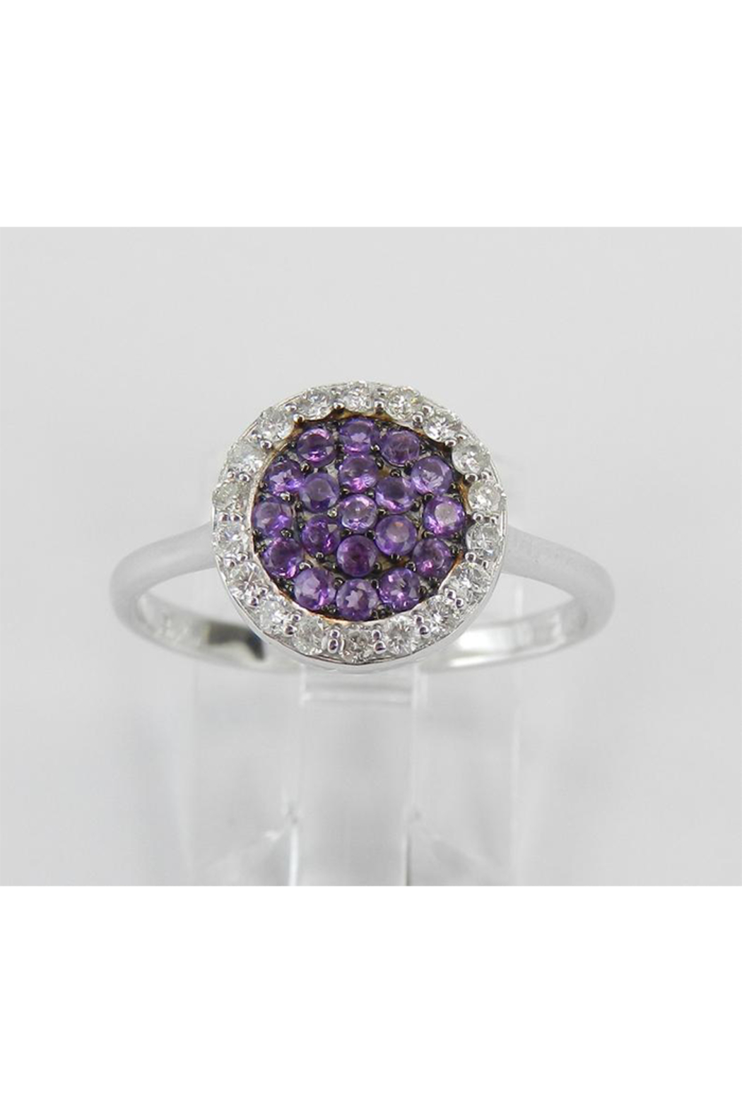 Margolin & Co 14K White Gold Diamond and Amethyst Cluster Promise Cocktail Ring Size 7.25 - Main Image