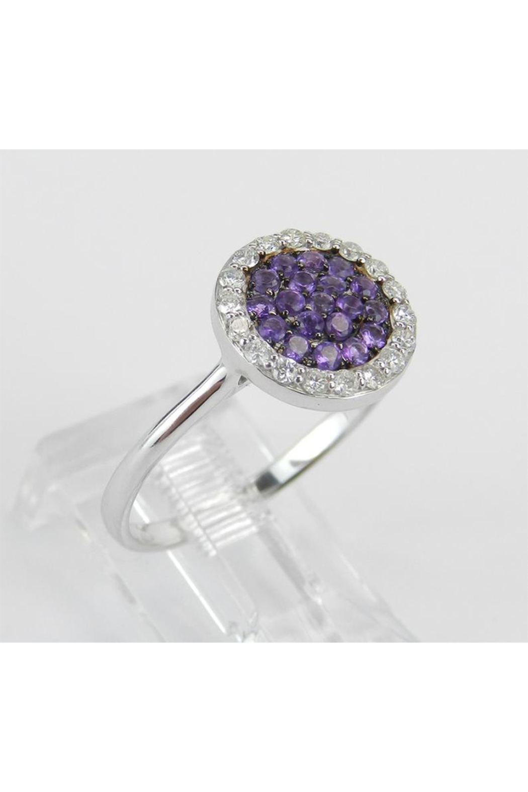 Margolin & Co 14K White Gold Diamond and Amethyst Cluster Promise Cocktail Ring Size 7.25 - Front Full Image