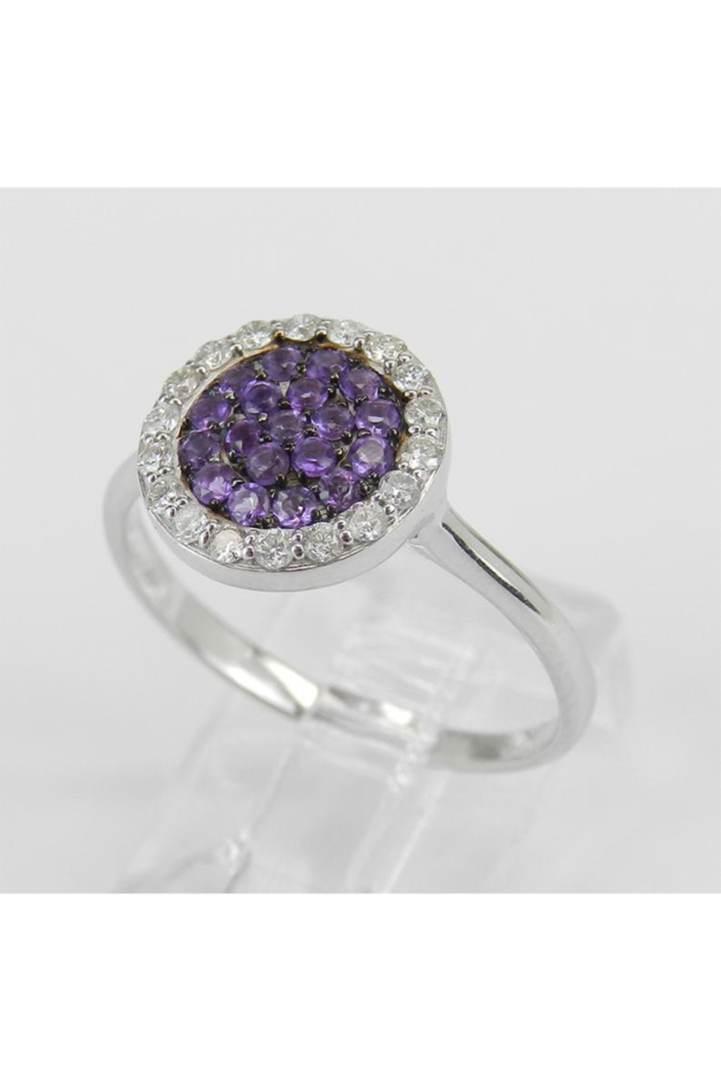 Margolin & Co 14K White Gold Diamond and Amethyst Cluster Promise Cocktail Ring Size 7.25 - Side Cropped Image
